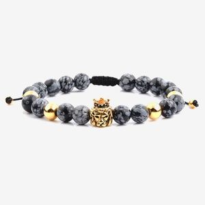 Obsidian Lion Charm Beaded Bracelet Jewelry